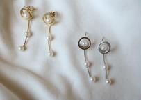 threepearl circle  gold pierce/ earring