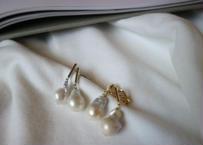 baroque pearl  gold pierce/ earring