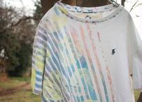 """十二ヶ月色彩記録の手刷りのTシャツ """"夕暮れ海色と淡い日差し"""" / nisai"""