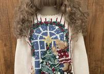 クマ くま クリスマス セーター ニット アグリー 白 刺繍 手刺繍 ツリー 花 プレゼント アメリカ カントリー ガーリー USA vintage used 古着/ club723(N137)