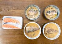 D さば味噌(カミ2切・シモ2切)と塩鮭(2切)セット
