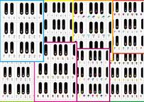 ~♪8枚セット(あがる)ピアノ鍵盤の半音階の12音を線で結んでいこう♪~