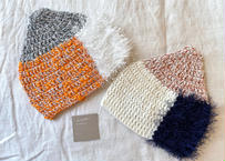 sinsin|カラフルニット帽〈オレンジ系/白系〉