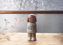 vintage 陶器の少女/置物(ソルト入れ)