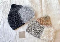 sinsin|カラフルニット帽〈ネイビー/ベージュ〉