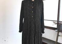 古着/立ち襟ブラックドレス