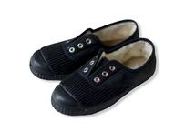 【 La Cadena 20AW 】 INGLES PARTIDO ELA Y.P. CLASSIC SLIP-ON / BLACK × BLACK SOLE / 23.5〜24.5cm
