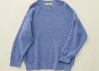 "【 eLfinFolk 20AW 】moss stitch sweater(elf-191K13)""セーター"" /  sky blue"