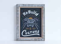WHW!の看板   ReBuild New Culture   黒板