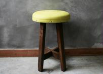 【古道具】張り替え椅子 kiiroスツール