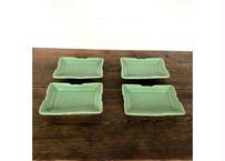緑の長方形皿4個set