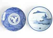 2種のブルーな和皿   20.5cm