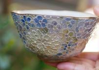 ご飯茶碗(花詰め ラスター彩 ブルー)