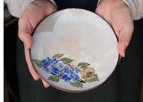 五寸皿 紫陽花と蝸牛