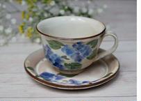 コーヒー碗皿 紫陽花(お皿:タタラ)