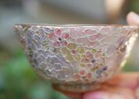 ご飯茶碗(花詰め ラスター彩 ピンク)