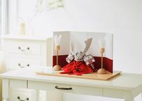 正絹赤糸縅 銀小札銀金具 兜飾り