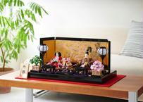 雛人形 コンパクト親王飾り 正絹名物裂 本金手描蒔絵屏風 20-M桜花
