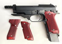ウッドグリップ  MARUI製| M93R|チェッカー/レッド