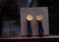 琉球藍染め(麻) 2way タッセルイヤリング