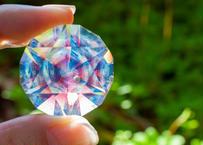 ダイヤモンド型オブジェ 宇宙 ルビー ダブルオパール (ボロシリケイトガラス)  GN-12208