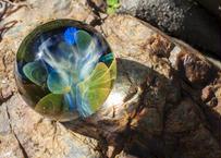 ガラスマーブル 月と花 レインボーオパール UV (ボロシリケイトガラス) GN-12203
