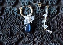 ラブラドライト・ダイヤモンドクォーツ/自然染めシルク耳飾り