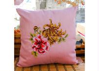 タイシルククッションカバー ピンク(花)
