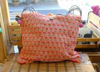 タイの刺し子バッグ(ピンク x グレー)
