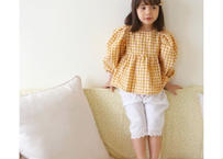 cheilseu blouse / ブラウス / パフスリーブ /ゆるシルエット / 小花柄 / チェック柄 / ゆるシルエット / ブラウン / オレンジ