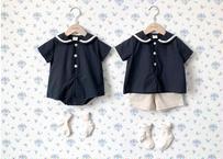 linen Sailor shirt / セーラー / シャツ / ネイビー / コットンリネン / キッズ / 男の子 / 女の子