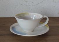 A31 色彩結晶釉カップ&ソーサー 黄