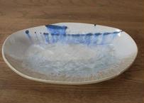 A79雪結晶釉だ円深皿  茶