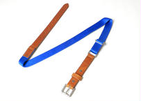LEATHER NYLON BELT (Camel×Blue)