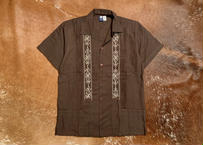 "[IMP-S-BROWHT01-34] DEADSTOCK IMPORT GUAYABERA  S/S  ""BROWN×WHITE-1""サイズ34"
