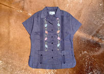 "[IMP-L-S-CHB03-34] DEADSTOCK IMPORT LADY'S GUAYABERA  S/S  ""CHAMBRAY-3""サイズ34"