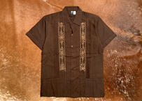 "[IMP-S-BROG01-34] DEADSTOCK IMPORT GUAYABERA  S/S  ""BROWN×GOLD-1""サイズ34"
