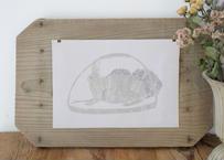 【個展antiques】布ポスター『じっとみつめるウサギ』