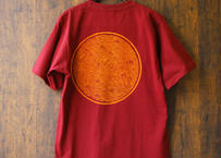 田村屋「茅ヶ崎Tシャツ」《丸に青海波》 えんじ×橙(送料込み)(商品コード:TA110209)