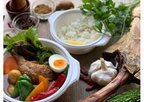 【ビストロ&バーおれんち】鳥取アゴ&ジビエスープの骨付きチキンレッグと夏野菜の骨付きチキンレッグと夏野菜のスープカレー