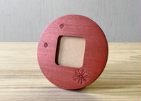 丸写真立て【桜】赤