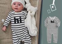 """hi"" stripe Long sleeve baby rompers / ""hi"" ストライプ柄長袖ロンパース"