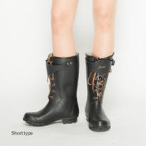 Amaort Sheat レインブーツ ショート - Black Croco / 23.0cm -