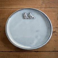 ふわふわ犬の中くらいのお皿 17センチ