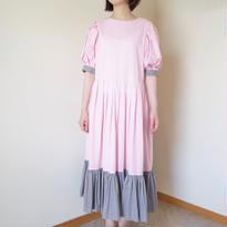 花びら | 裾がふりふりのワンピース ギンガムチェック