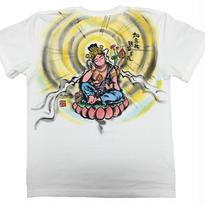 【手描きTシャツ】如意輪観音  白  彩色 綿生地