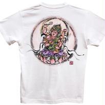 【手描きTシャツ】愛染明王  白 彩色 綿生地
