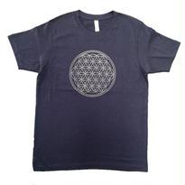 【Tシャツ】フラワー・オブ・ライフ1 コットン生地 姫川薬石インク100% 紺