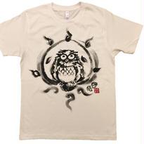 【手描きTシャツ】ふくろう 白 コットン生地