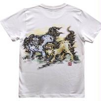 【手描きTシャツ】に獅子 白 彩色 コットン生地